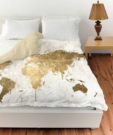 White Gold Mapamundi Duvet Cover #zulilyfinds