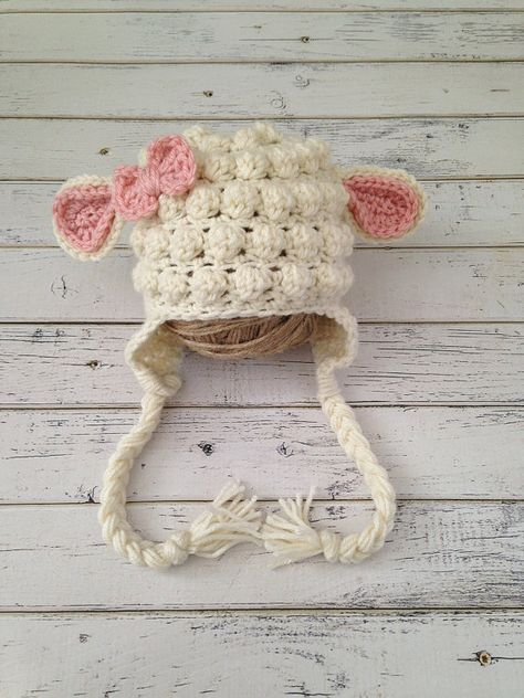 Photo of Crochet Baby Girl Lamb Hat, Animal Photo Prop, Baby Sheep Hat, Child Lamb Hat, Girl Baby Sheep Hat, Lamb Newborn Photo Shoot, MADE TO ORDER!