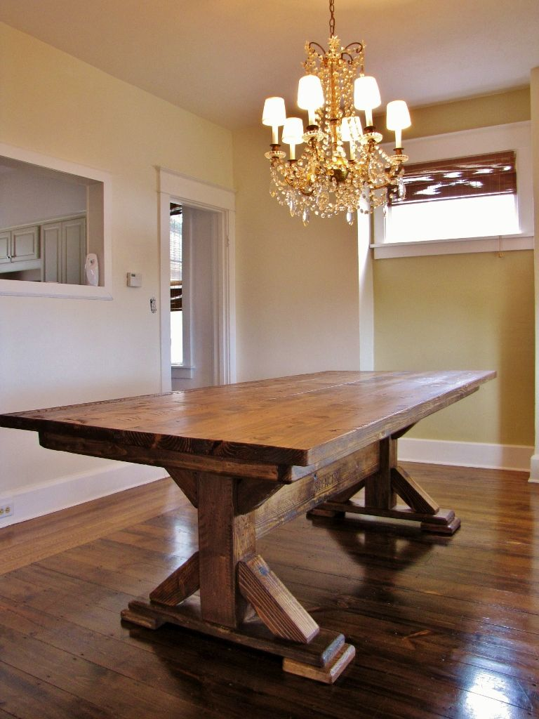 Tables rustic solid wood trestle pedestal base harvest dining table - This Guy Makes Custom Furniture At Pretty Reasonable Prices Want To Contact Him For A Rustic Wood Tablesfarmhouse Dining