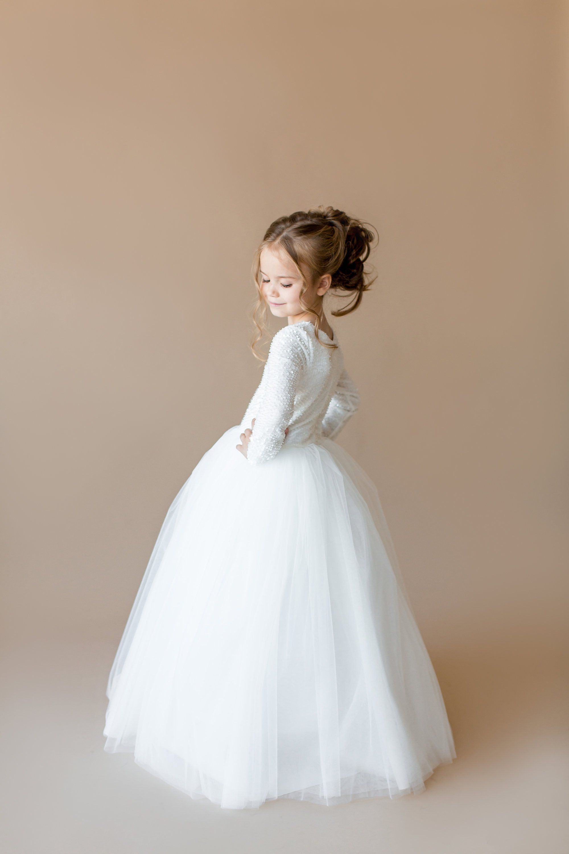 372fbcb3fd Long Sleeve Flower Girl Dress Chic Vintage Brides