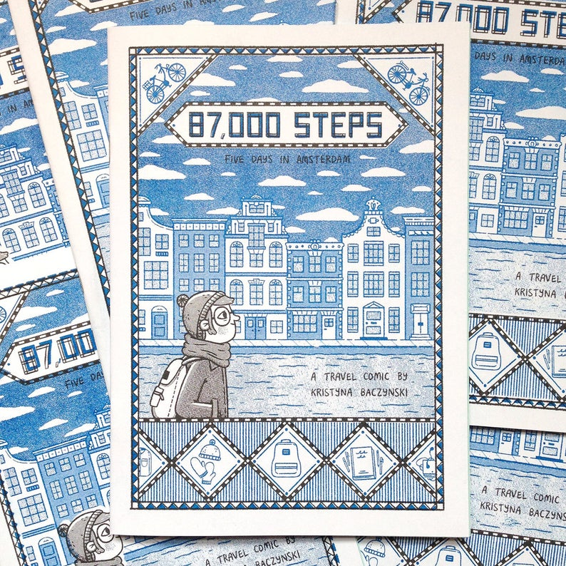 87000 Steps Risograph Zine Amsterdam Travel Comic Etsy