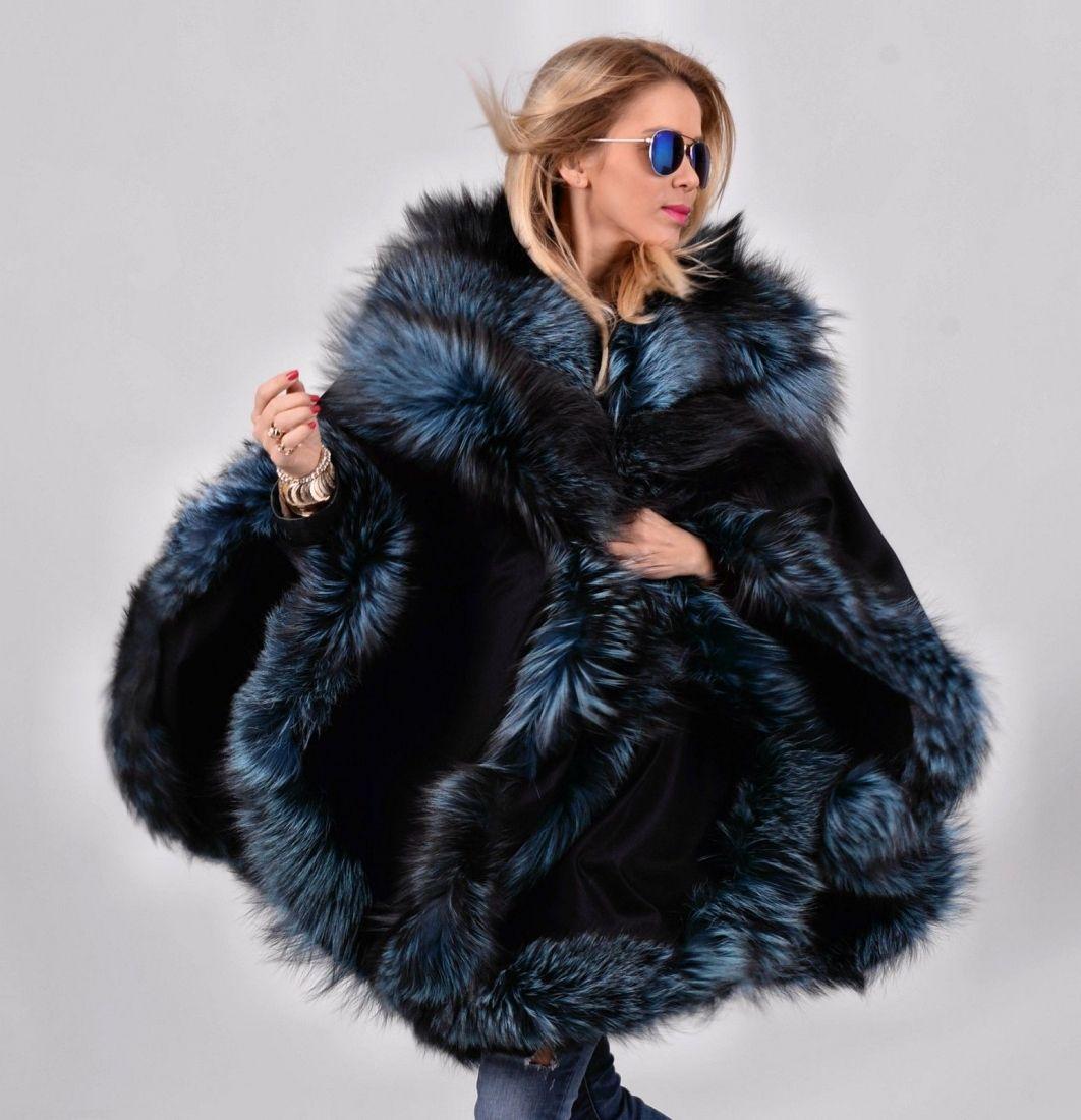 b845de7b9 fox furs - navy blue silver fox fur cashmere poncho | Beautiful ...