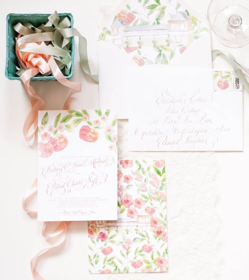 Design House Of Moira | Rose Gold Foil U0026 Painted Watercolor Invitations