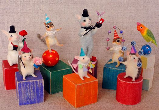 needle felted party animals