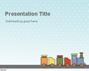 Toy train powerpoint template for kidsplay ppt presentation baby free train powerpoint template with toy illustration for presentations for kids and children toneelgroepblik Images
