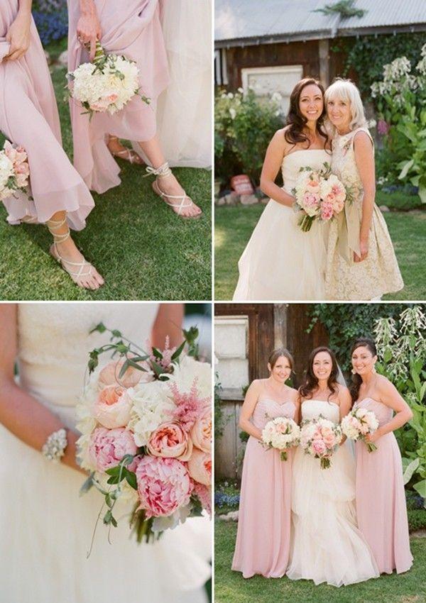 April Wedding Pastel Pink Bridesmaids Dresses Ideas Bride Bouquet For Ribbon Barefoot Sandals Www Loveitsomuch