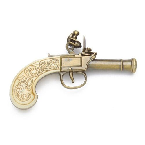 Ladies Pocket Flintlock Pistol with Gold Finish