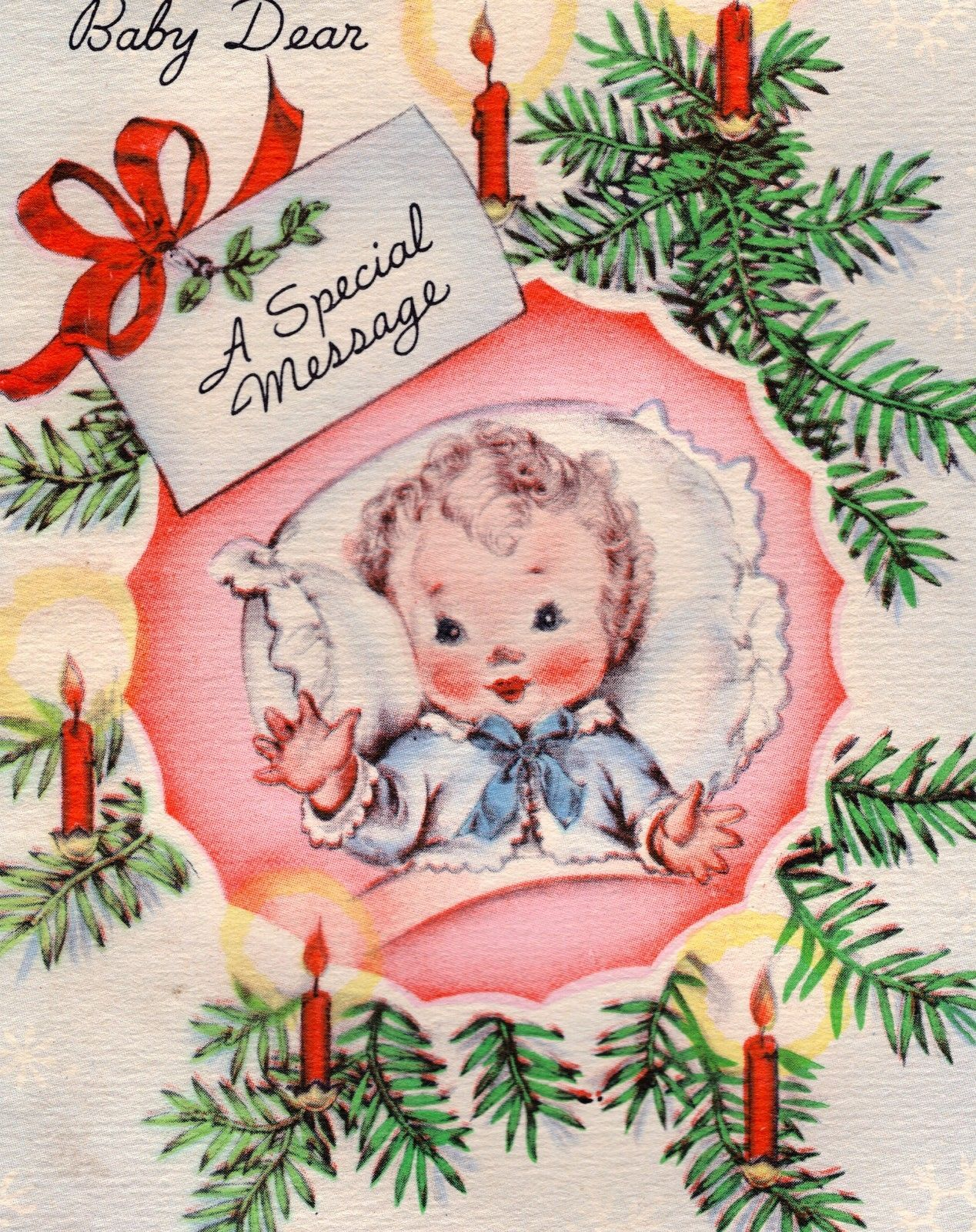 Vintage Christmas Card 1940s Adorable Baby W Curly Hair 1st Xmas