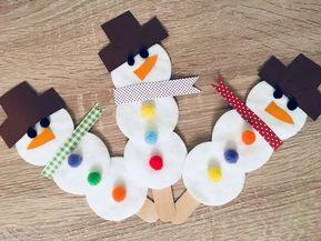 Schneemänner aus Eisstielen und Wattepads – Basteln mit Kindern #weihnachtsbastelnmitkindernunter3