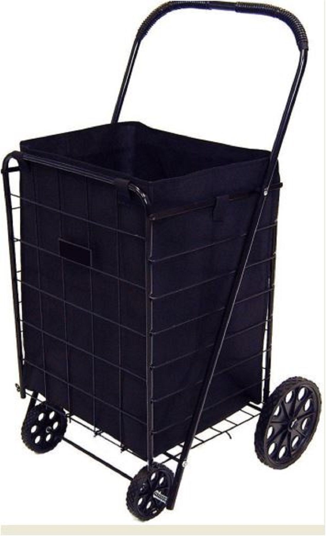 Shopping Cart Liner Folding Wheel Trolley Basket Black Grocery