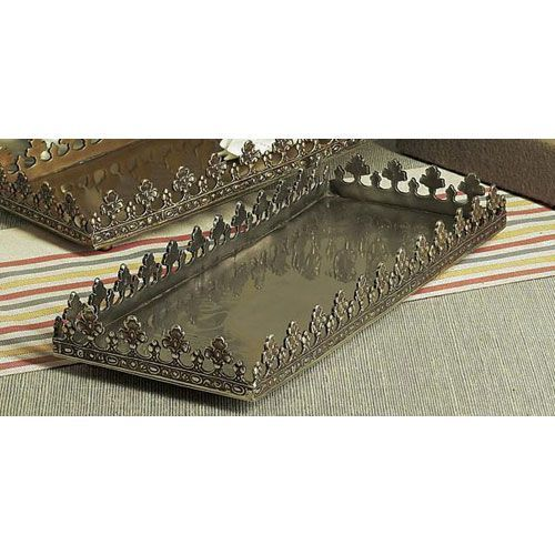 Antique Silver Rectangular Footed Fan Leaf Tray $116.96