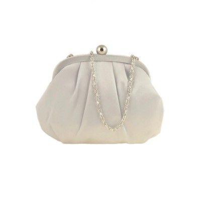 d92cc1a4ac6 Bolso de fiesta para mujer en raso color gris perla