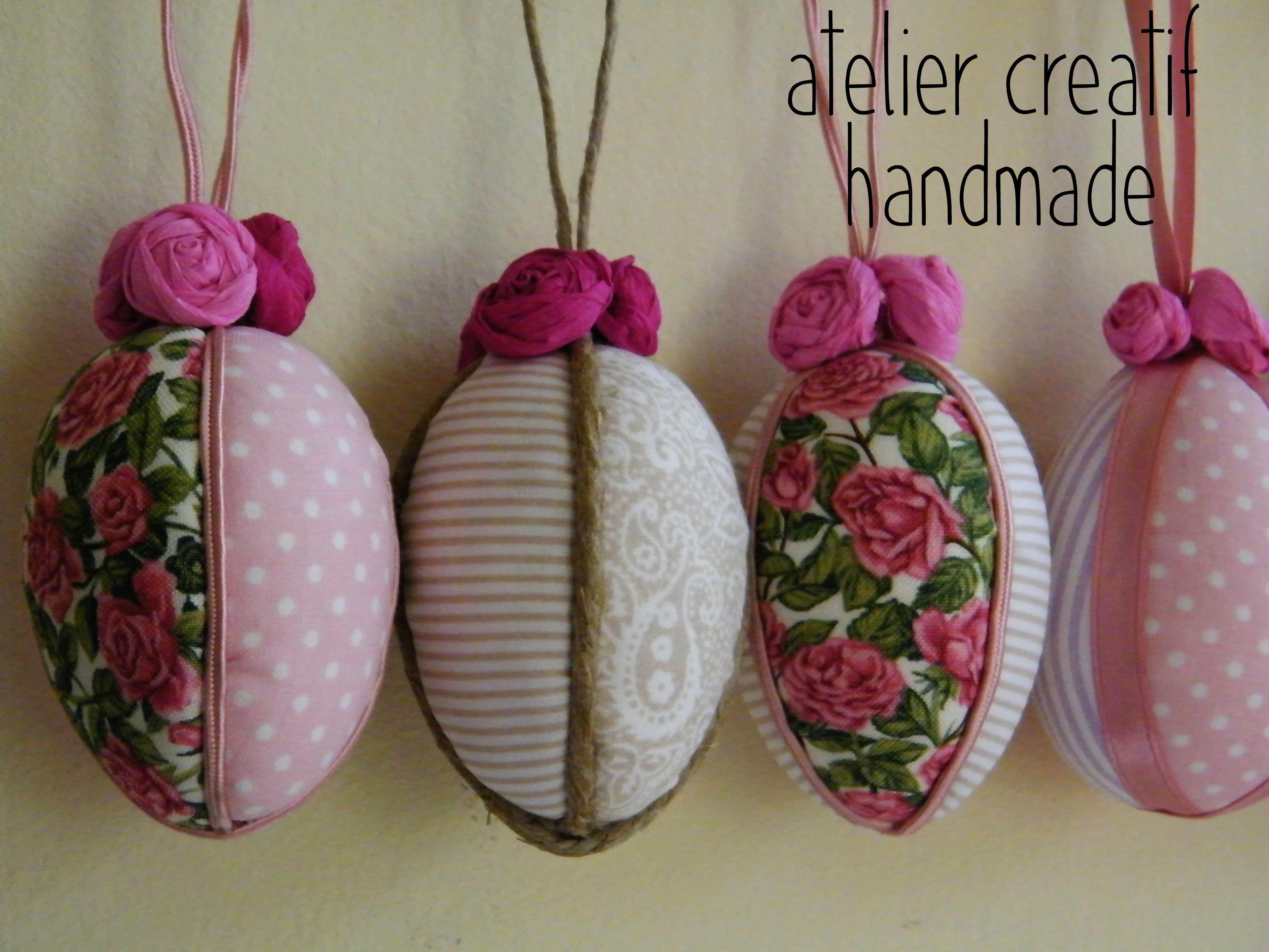 Uova pasquali decorate a mano con tessuti le creazioni di atelier creatif pinterest easter - Uova di pasqua decorati a mano ...