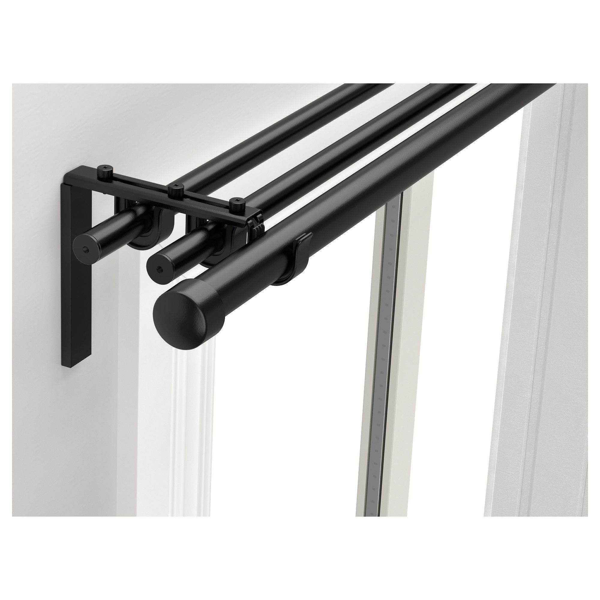 Racka Hugad Triple Curtain Rod Combination Black 82 5 8 151 5