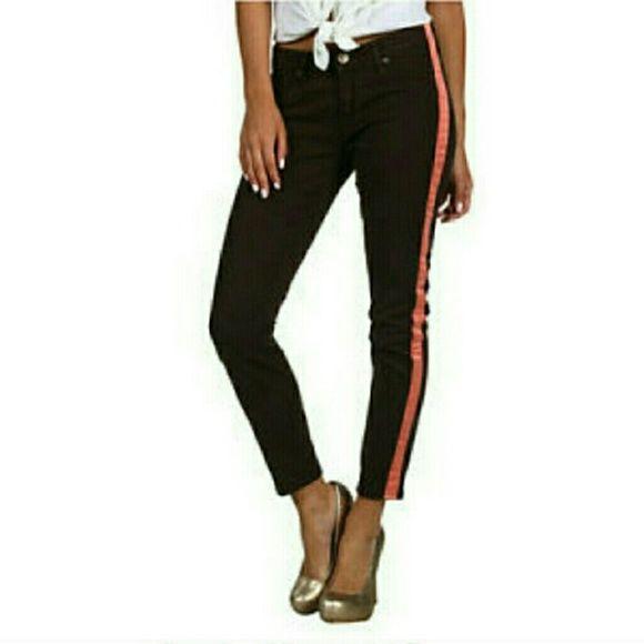 90b51dd3c25 Hudson Jeans Color : Dark Brown / Neon Coral Hudson loulou tuxedo stripe  skinny crop jeans