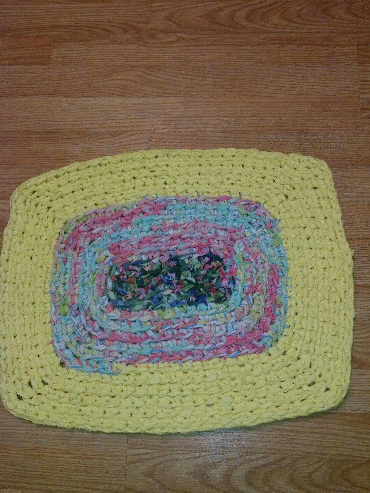 Crocheted Rag Rug I Make For Animal Shelters