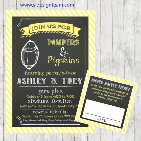 couples baby shower invitation football diaper party bbq baby shower pampers and pigskins