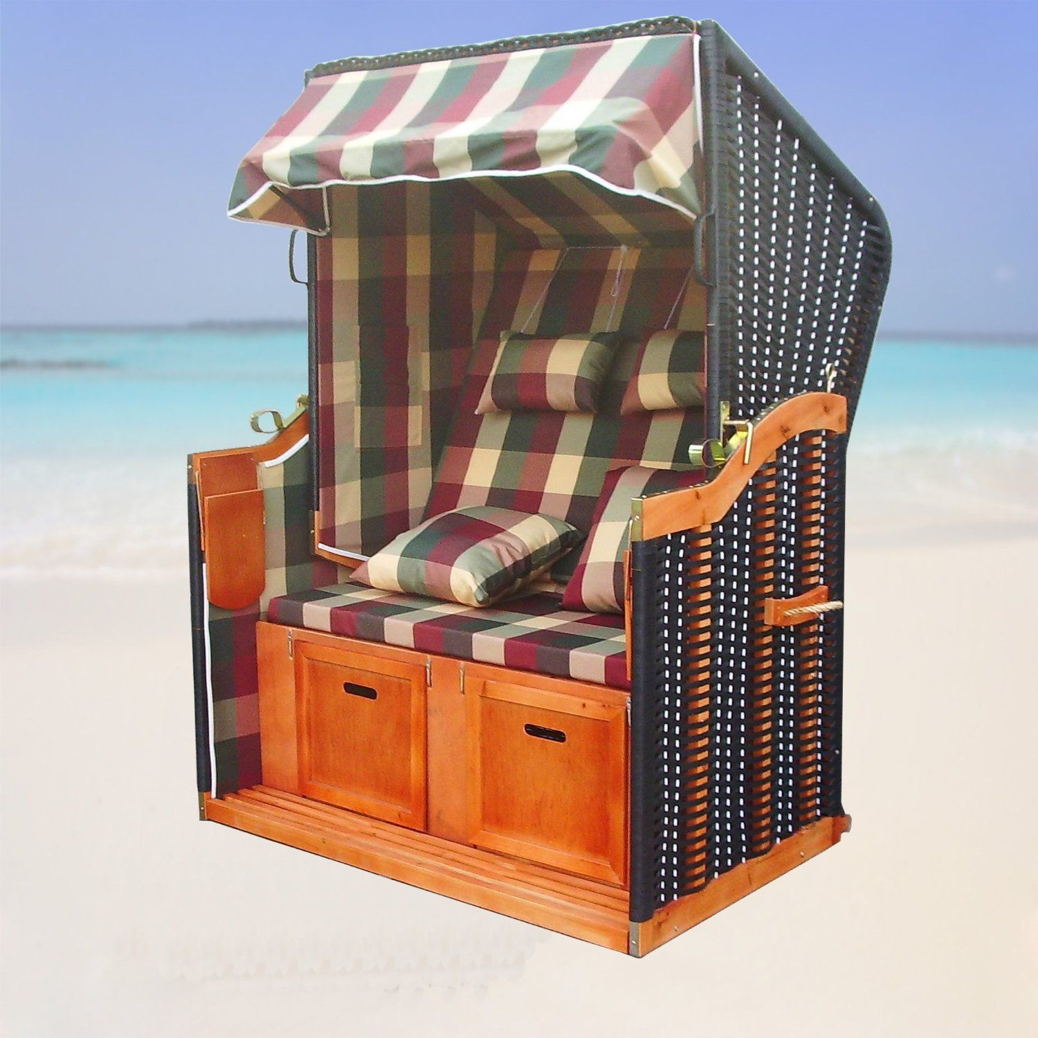 xinro xy 54 balkon strandkorb rot gr n karo inkl luxus strandkorb schutzh lle sylt. Black Bedroom Furniture Sets. Home Design Ideas
