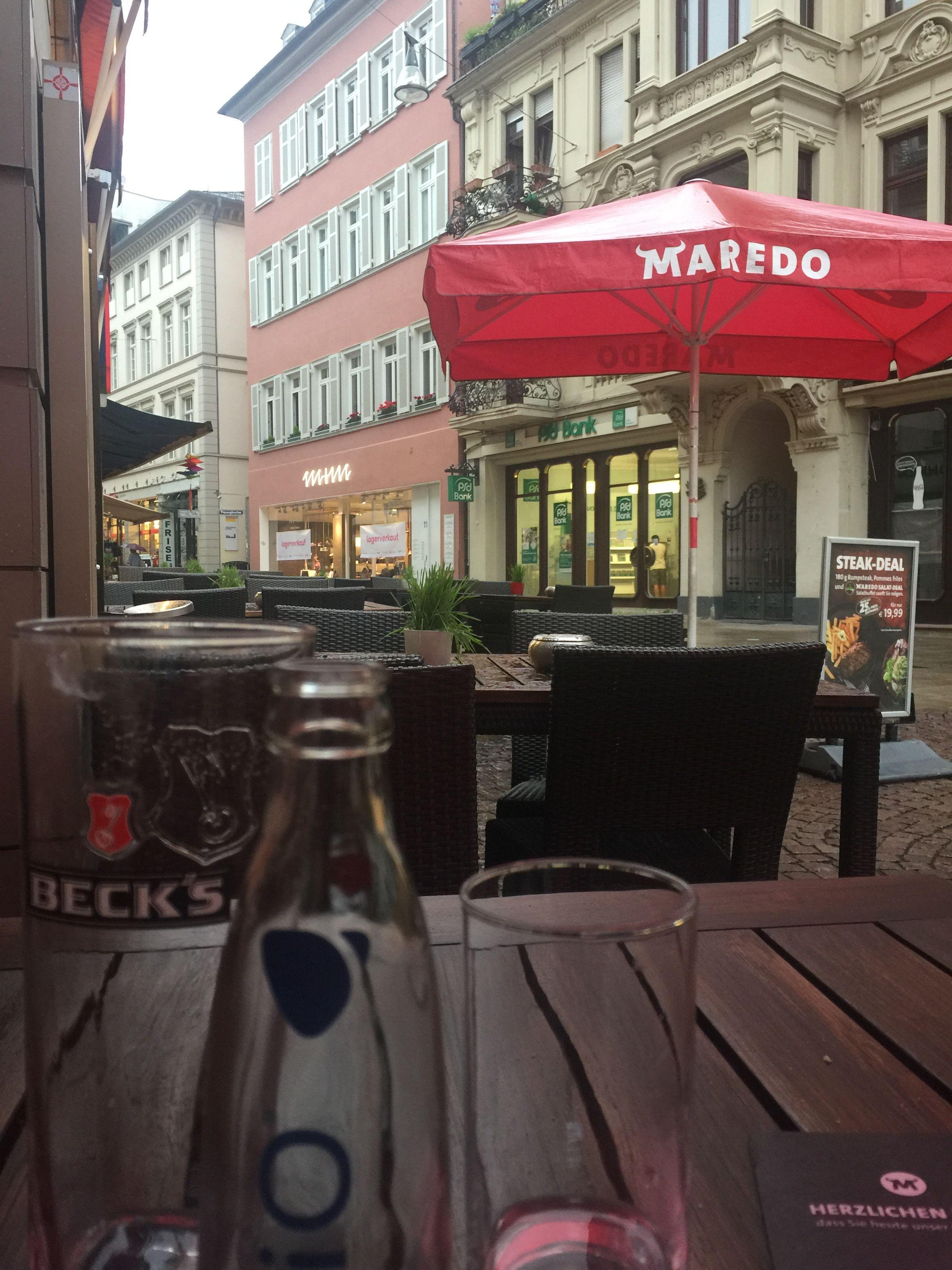 Dinner For Two Al Fresco On A Rainy Evening Downtown Wiesbaden Germany Fresco Downtown Wiesbaden