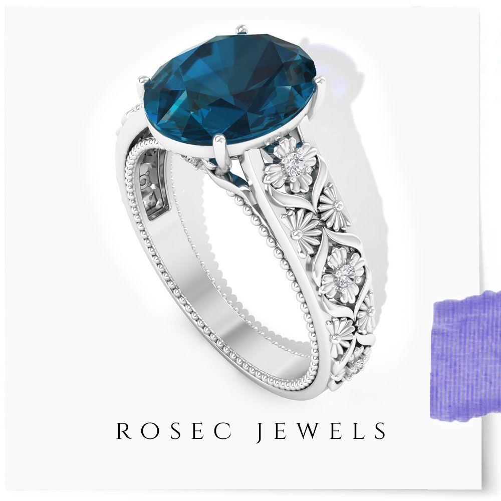 Boho Ring Wedding Gift Ring Oval Gemstone Minimalist Ring Engagement Ring Promise Ring November Birthstone 9 Ct SWISS BLUE TOPAZ Ring