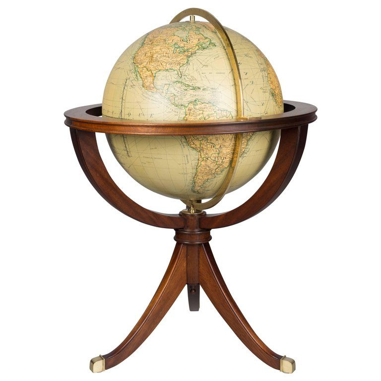 french terrestrial globe on mahogany stand