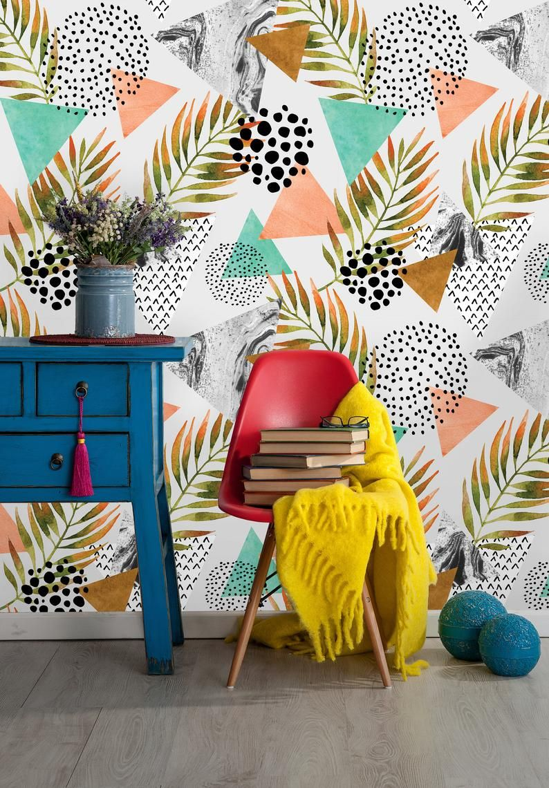 Removable Wallpaper Peel And Stick Geometric Wallpaper Etsy Geometric Wallpaper Removable Wallpaper Wallpaper Living Room