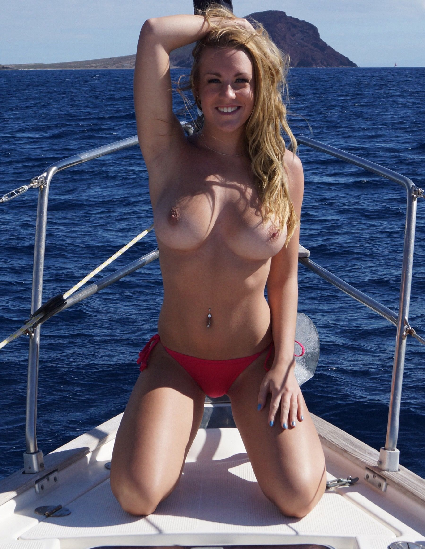 Topless Girls On A Boat