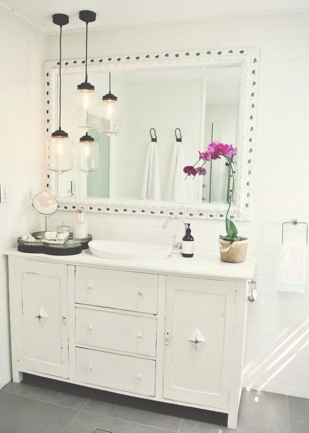 Funky white bathroom