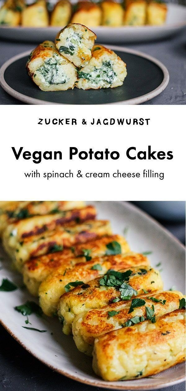 Potato Cakes with Spinach and Cream Cheese Filling -  Vegan Potato Cakes with cream cheese filling