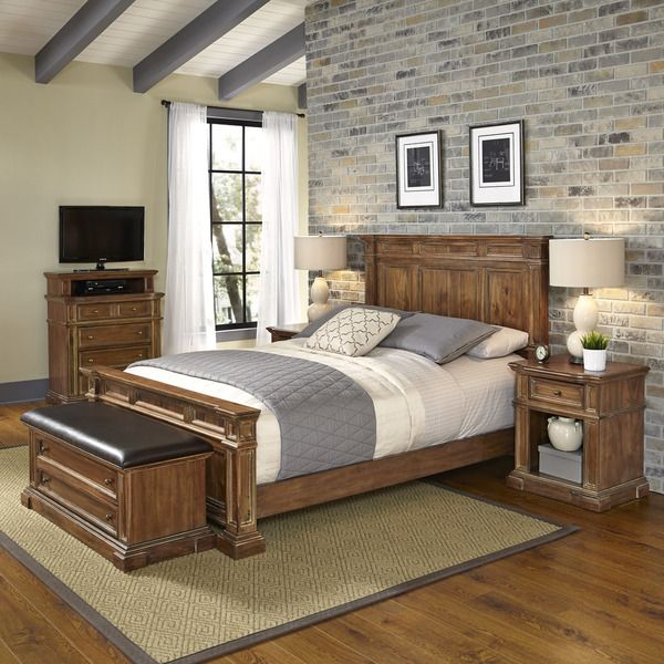 Americana Vintage Bed, Two Night Stands, Media Chest, And Upholstered Bench