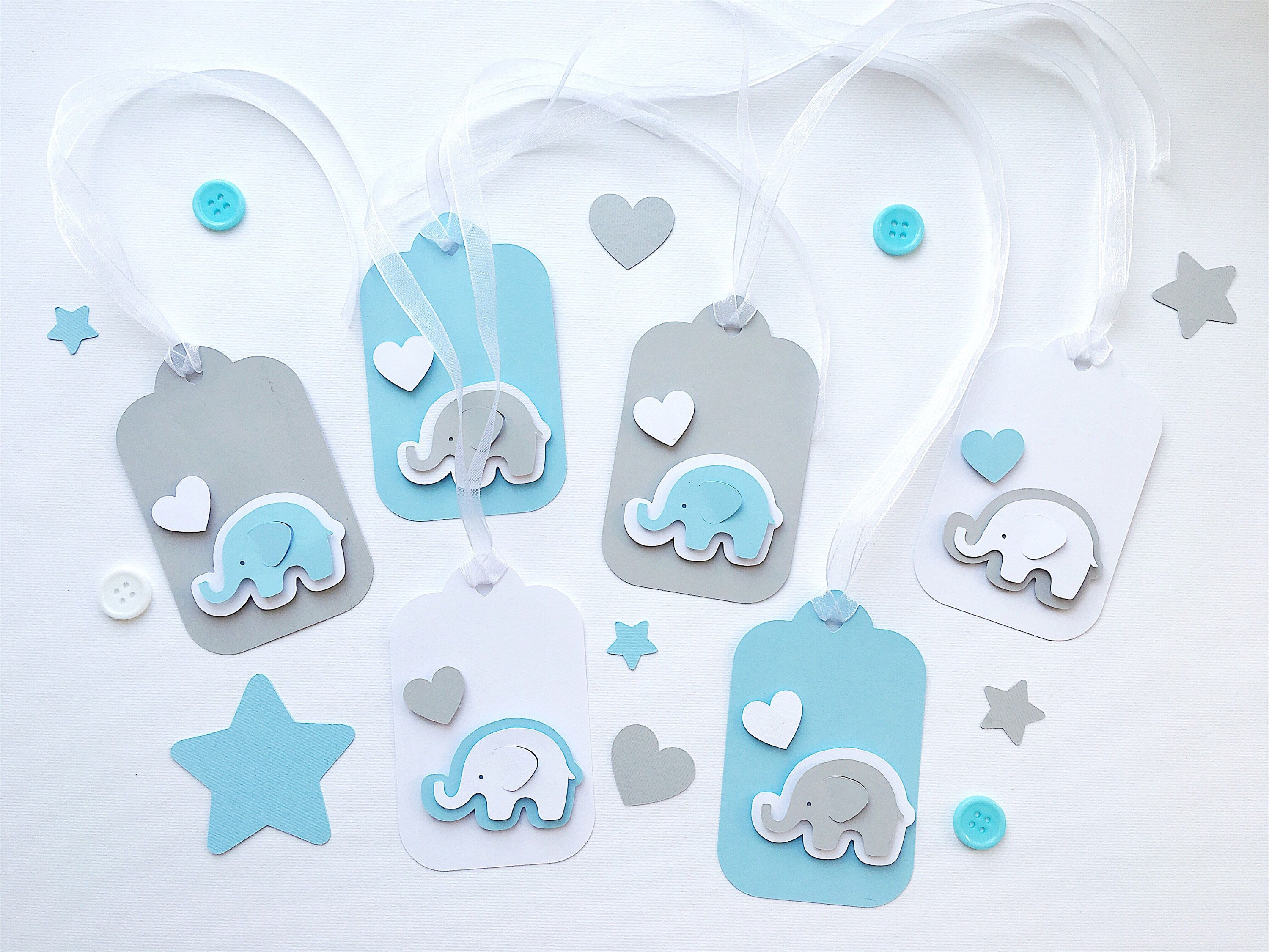 Set of 12 Elephant Tags Blue Grey Elephant Baby Shower Gift Tags