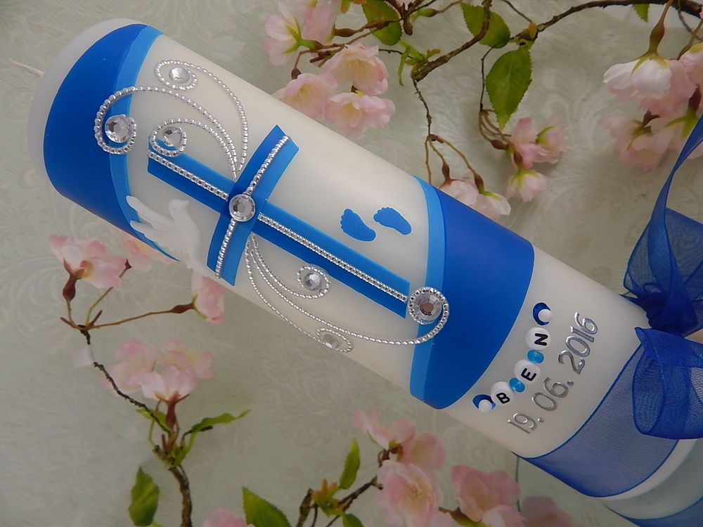 Taufkerze Kerze zur Taufe Kreuz türkis Taufkerzen Junge Mädchen handmade modern
