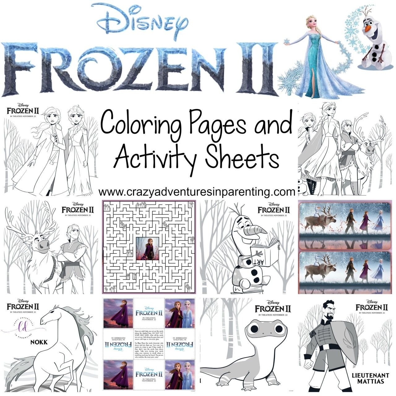 Free Printable Frozen 2 Coloring Pages and Activity Sheets   Activity sheets [ 1280 x 1280 Pixel ]