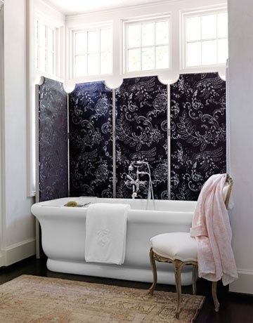 Or use a screen instead of drapes. | 27 Clever And Unconventional Bathroom Decorating Ideas