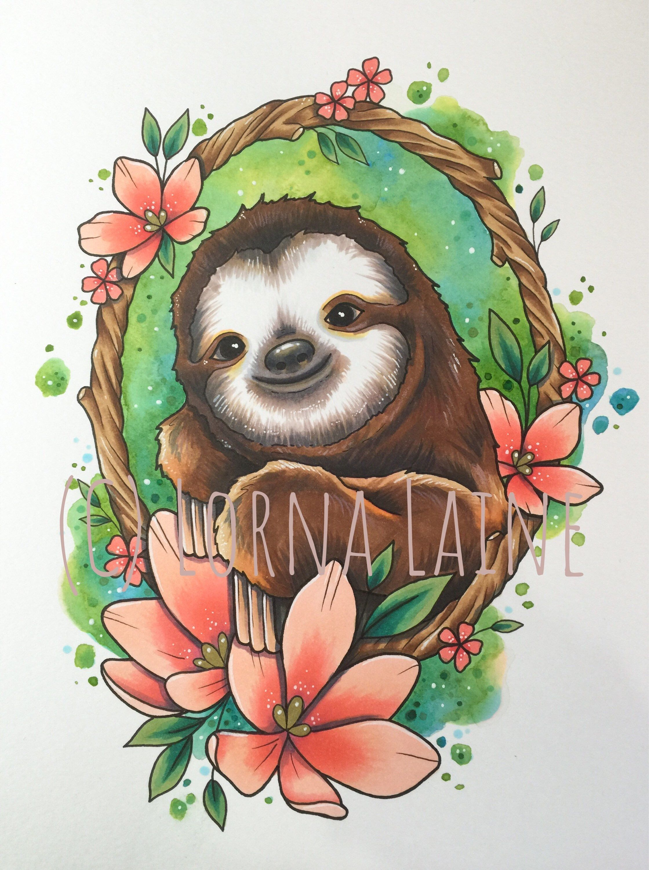 Sloth tattoo print, watercolour art, tattoo design