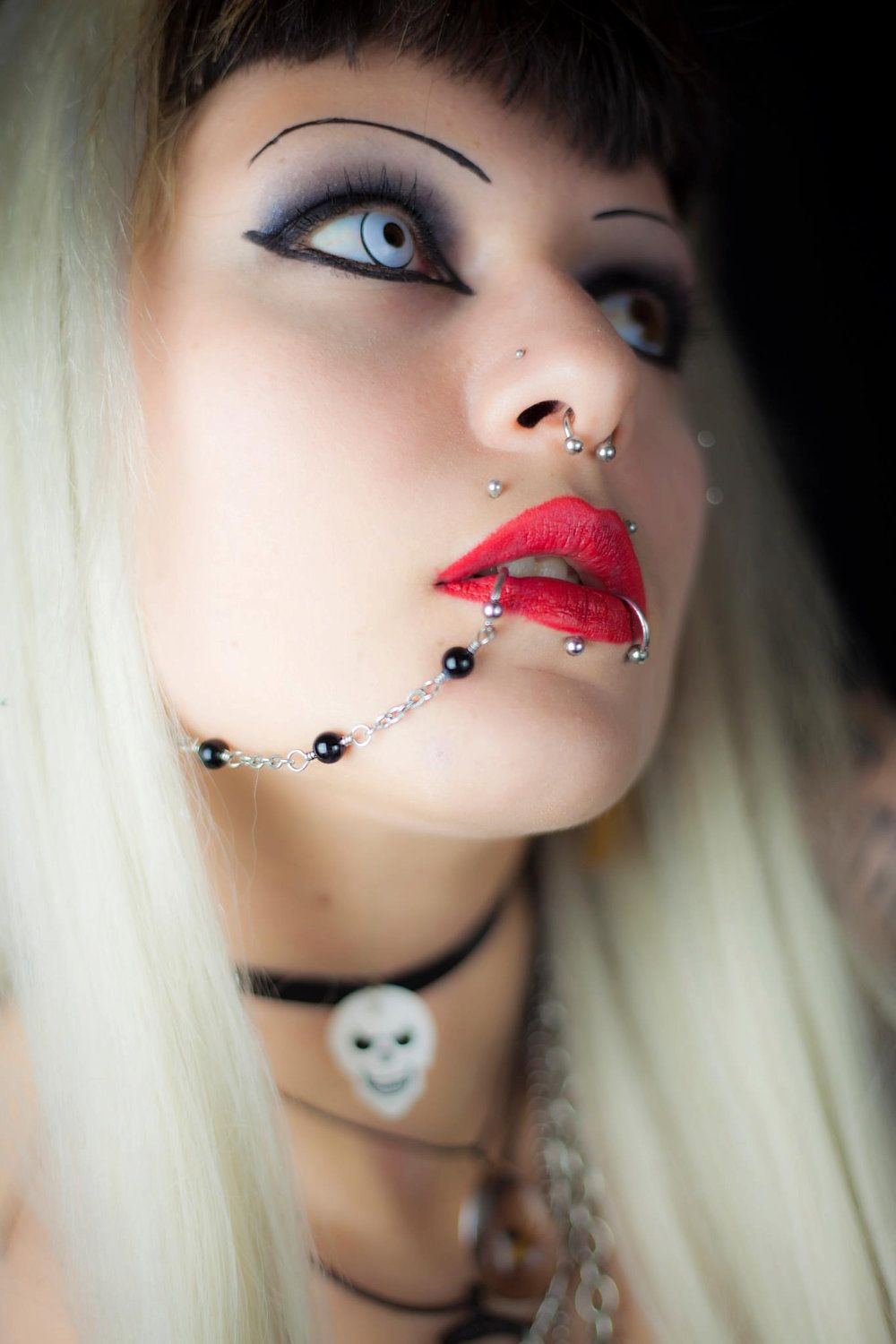 Beaded Surgical Stainless Steel Piercing Chain Lip Nose Ear
