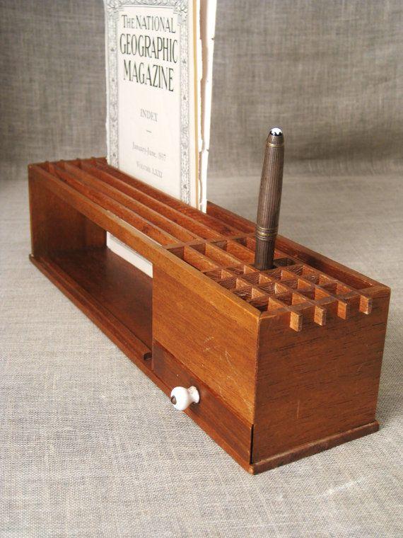 Vintage Mid-Century Wooden Desk Organizer / Desk Caddy / Pencil Holder -  Vintage Penthouse - Vintage Mid-Century Wooden Desk Organizer / Desk Caddy / Pencil