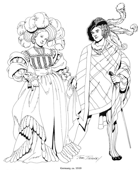 coloring page Clothing of the Renaissance | Kampfrau/German ...