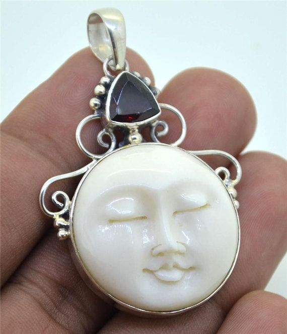 Garnet Carved Moon Face 925 Sterling Silver Pendant Pn0042 E1069 Sterling Silver Pendants Carved Moon Face Jewelry Design