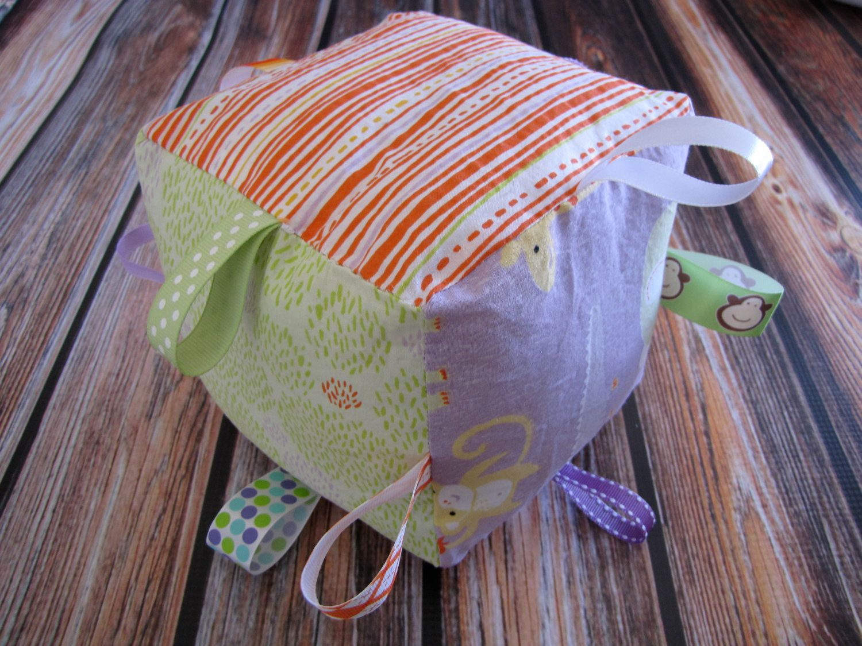 Organic Plush Taggie Block Safari Sweet  by Clothworks Made by Lolas Lovies. $12.00, via Etsy.