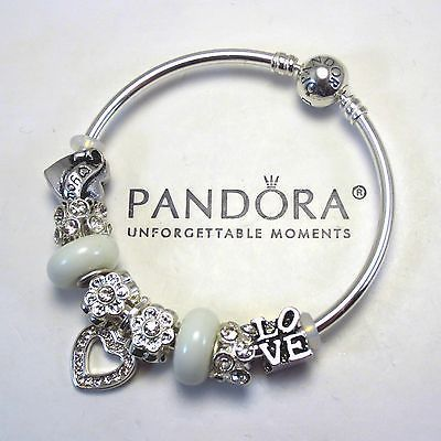 Authentic Pandora Bangle Bracelet Silver White Charms Notice Stops On Both Sides Of Jewels Mg