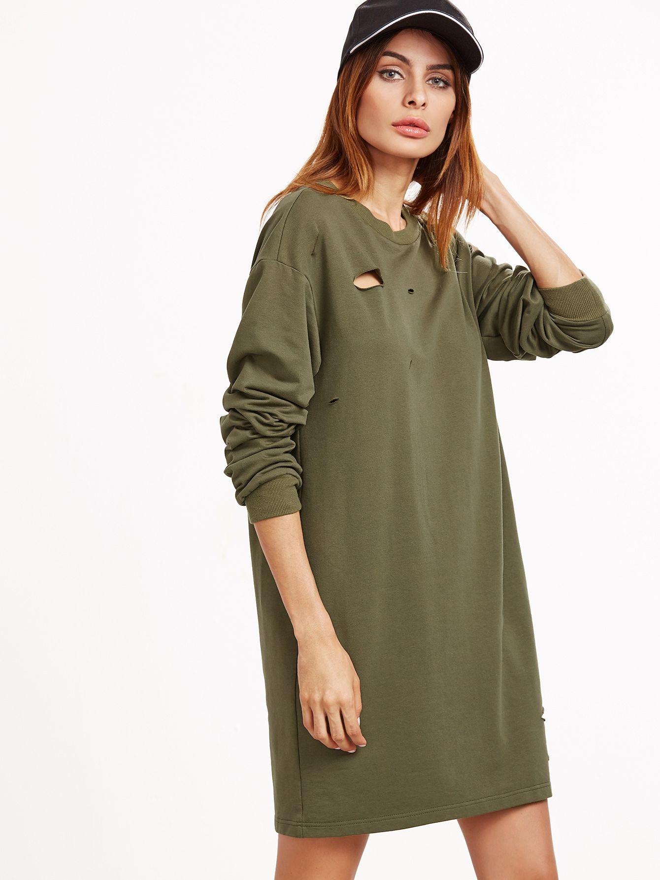 822040f23ee Модное платье-свитшот цвета хаки