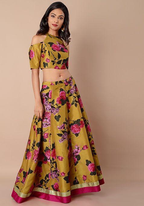 5e6e6aa8e8de Mustard Floral - Pink Border Silk Maxi Skirt #FabAlley #Fashion #PartyWear # Dresses #Indya #MaxiSkirt #FloralDress