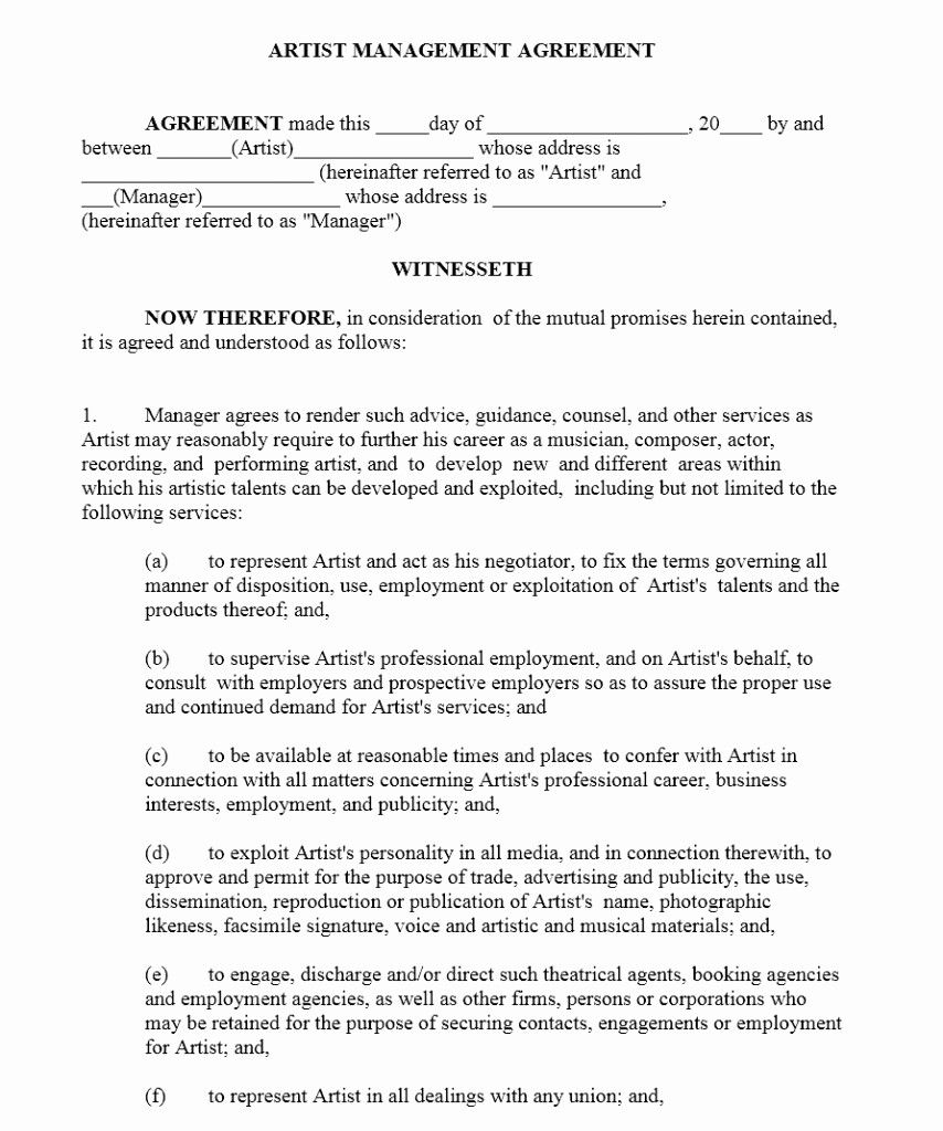 Luxury Artist Management Contract Template Contract Template Business Management Resume Template Free Artist terms and conditions template