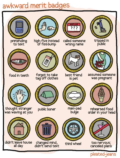 awkward merit badges