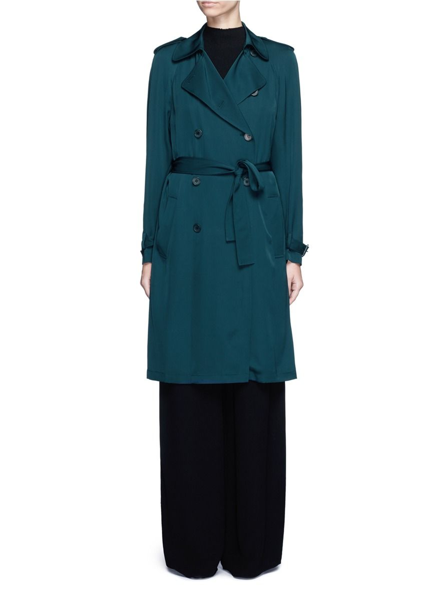 THEORY 'Laurelwood' Silk Georgette Trench Coat. #theory #cloth #coat