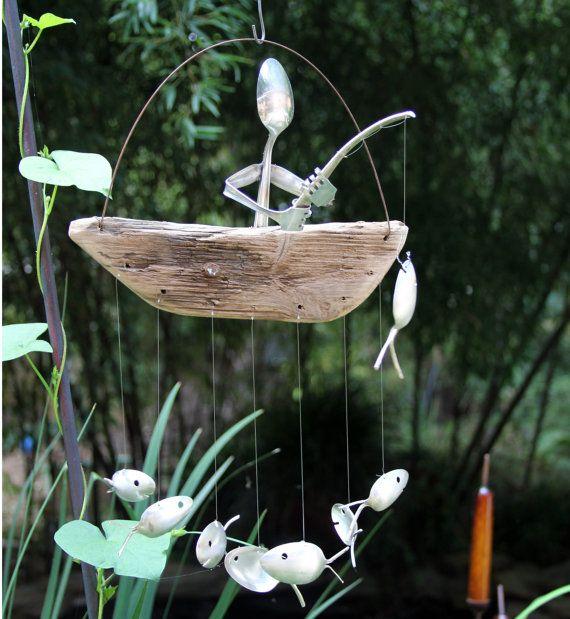 fork angler spoon fish wood vessel kinetic moving yard. Black Bedroom Furniture Sets. Home Design Ideas