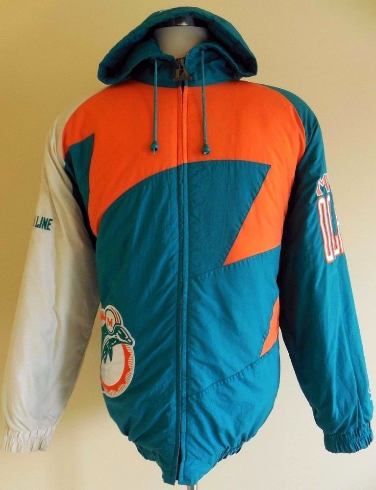 Vintage Miami Dolphins Zip Up Sweatshirt Jacket Size XL Bike Athletic