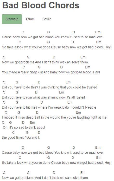 Bad Blood Chords Taylor Swift | chords | Pinterest | Bad blood ...