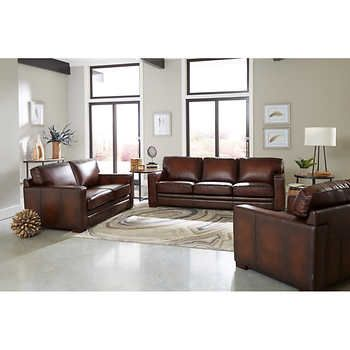 Luca 3 Piece Top Grain Leather Set Top Grain Leather Sofa Leather Sofa Set Living Room Sets